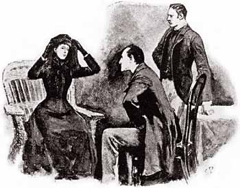 Holmes, Helen Stoner and Watson, illustrated by Sidney Paget
