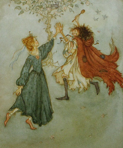 Ilustration from Tatterhood and the Hobgoblins retold and illustrated by Lauren Mills, published 1993.